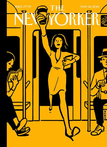 Black and yellow cover of New Yorker Magazine with an illustration of a woman running onto a subway car carrying a to-go cup of coffee high in the air.
