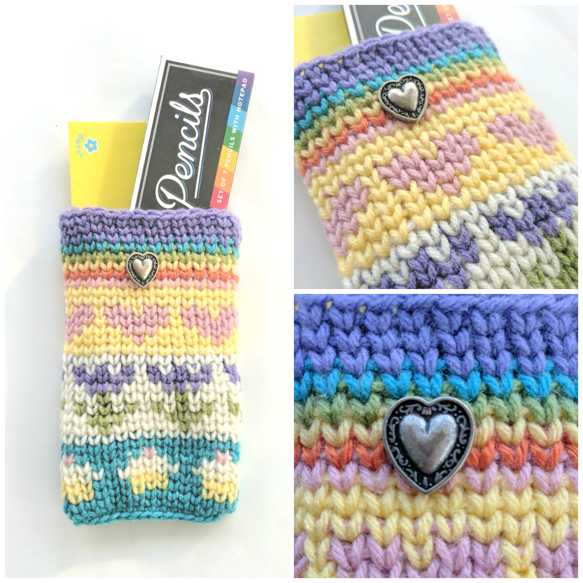 A collage of three images of the same crocheted pouch in pastel colors with hearts, flowers, cupcakes, and a rainbow on it. Left photo is of pouch with a pencil box and yellow envelope in it. Top right photo is a close-up that shows the front of the pouch. Bottom right is a close-up of the metal filigree heart button.