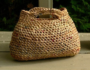 plastic bag yarn tote